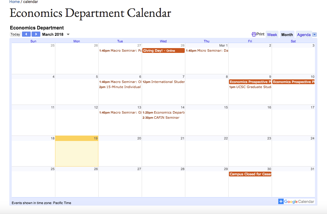 Embedding a Google Calendar