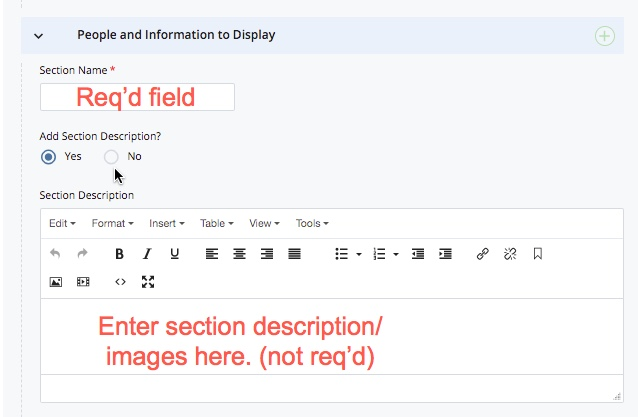 section name (required) and description fields (not required)