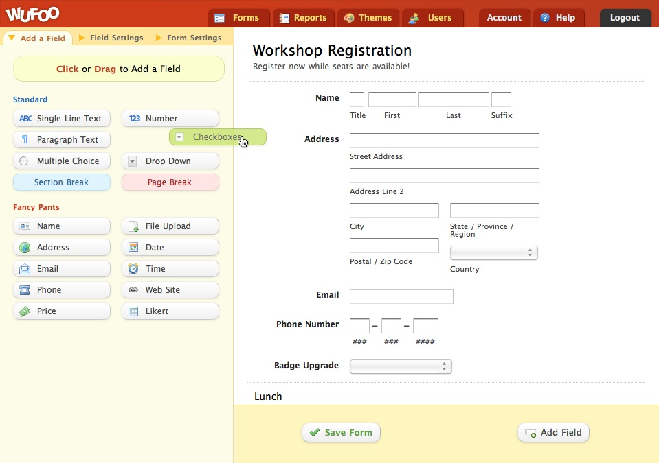 Wufoo Form Builder Screenshot