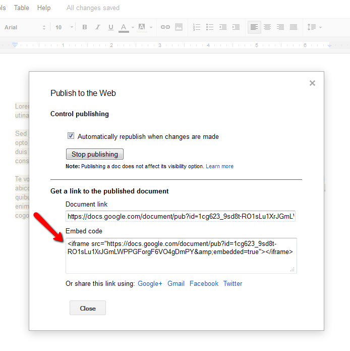 Embedding Google Docs, Presentations, Spreadsheets and Forms