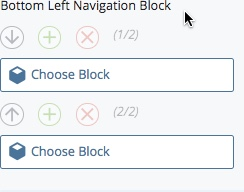 scroll down to bottom of page before Related Links to select your left navigation block